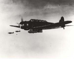 "Japanese Nakajima B5N Type 97 ""Kate"" high level attack bomber. On December 7, 1941 this Akagi-based aircraft carried a torpedo."