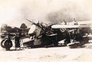 Wrecked aircraft, December 7, 1941, Pearl Harbor.