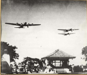 First mass flight of Army bombers departed Hamilton Field, California, on May 13, 1941 and arrived at Hickam Field in 13 hours and 10 minutes. The flight consisted of 21 B-17 bombers like these flying over Hickam's Main Gate.