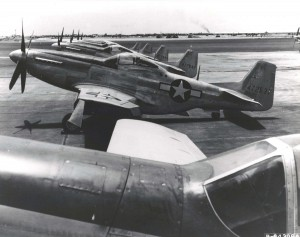 North American P-51 Mustangs on the flight line at Hickam Field, April 26, 1945.