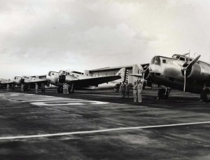 Army's powerful 2-engine bombers on the line for inspection at Hickam Field.