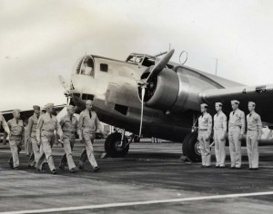 Army's powerful 2-engine bombers on the line for inspection at Hickam Field by Brig. Gen Walter Frank of the 18th Wing.