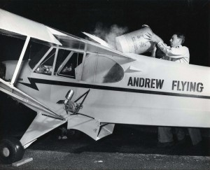 Andrew Flying Service plane at Honolulu Airport, 1940s.
