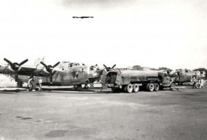 B-24 aircraft at Barking Sands, Kauai, refueling or regrouping prior to Southwest Pacific deployment, 1944-1945.