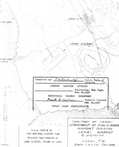 CAA Region IX, 1947 National Airport Plan, Proposed improvements at Lanai Airport, February 26, 1947
