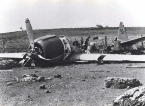 Japanese A6M2 Zero-Sen crash landed on Niihau. The plane was hit by ground fire while strafing Bellows. It was to rendevous near Niihau but the Japanese submarine was not on the surace. Short of gas, the pilot tried to land but tore off the landing gear on a fence and stone wall.