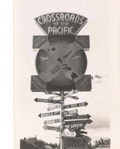 Cross Roads of Pacific sign at Kau Kau Korner restaurant, Honolulu, 1940s.