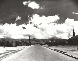 Barrage balloon floating over Fort Kamehameha during World War II.