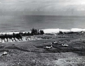 Dummy airfield between Haleiwa and Kahuku, March 22, 1944. Note tents in back.