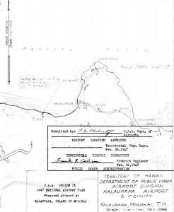 CAA Region IX 1947 National Airport Plan, Proposed airport at Kalaupapa, Molokai, February 26, 1947.