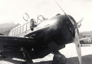 Morris Minaljevich in cockpit of O-47 at Bellows Field, 1941.