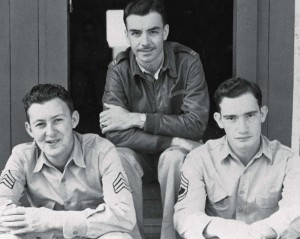 Capt. Jean K. Lambert with Sgt. Mergenthaler and TSgt Claypool at Bellows Field, 1942.