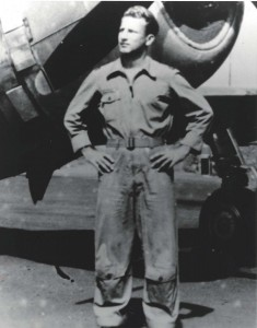 Maj. Paul Fojtik, 333rd Fighter Squadron Commander, in front of P-47, Bellows Field, early 1944.
