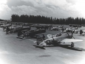 Republic P-47 Thunderbird 318th Fighter Group lined up in parking area on Bellows Field, May 15, 1944.