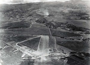 Kipapa Airport, Oahu, looking east. Portion of former Army field released for public flying. 1948.