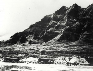 Kualoa Airfield, Oahu, near Chinaman's Hat with P-38 camouflage, October 8, 1944.