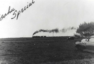 OR&L Train thunders past Mokuleia Field, Oahu, c1942-1943.