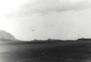 P-49Ds of the 72nd Pursuit Squadron peeling off for a landing at Mokuleia Field, Oahu, March 1942.