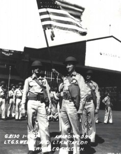 Lt. G.S. Welch & K. M. Taylor receive Distinguished Service Cross at Wheeler Field for heroics on December 7, 1941.