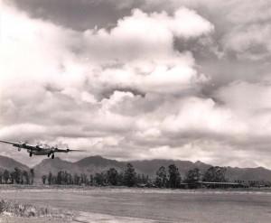 B-24 aircraft landing at Wheeler Field, 1945.