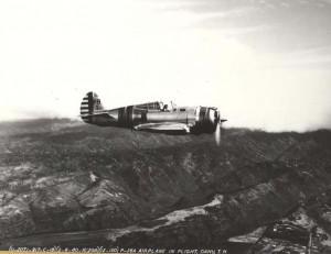 Wheeler Field's P-36A fly over Oahu February 8, 1940.