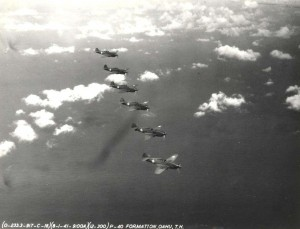 Wheeler Field P-40s in formation over Oahu August 1, 1940.