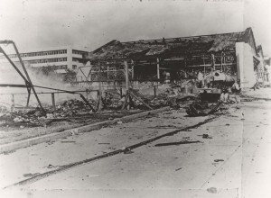 Hangar row at Wheeler Field following Japanese attack on December 7, 1941. These tents were located between hangars 2 and 3.