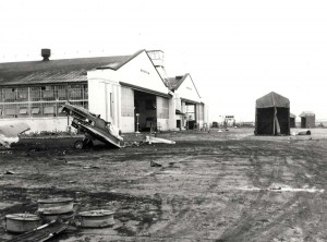 Wreckage in front of Hangar 4, Wheeler Field, December 7, 1941.