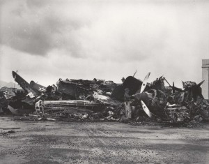 Wrecked planes at Wheeler Field, December 7, 1941.