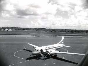 Hawaiian Airlines calls at Hilo Airport, 1950s.