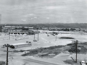 Construction of Interisland Terminal, Honolulu International Airport, 1959.