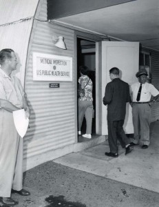 Medical Inspection, U.S. Health Service, Honolulu International Airport, 1950s.