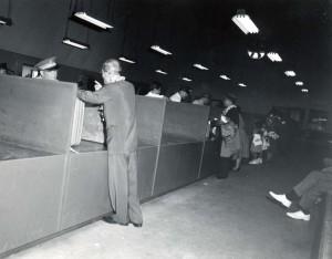 U.S. Customs at Honolulu International Airport, 1950s.