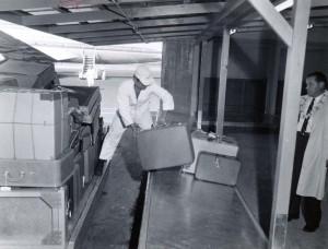 Baggage claim at Honolulu International Airport, 1950s.