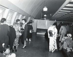 Foreign arrivals waiting area, Honolulu International Airport, 1955.