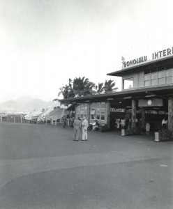 Front entry to Honolulu International Airport, 1950s.
