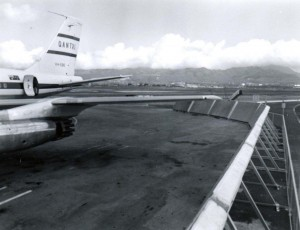 Qantas Airlines at Honolulu International Airport, 1950s.