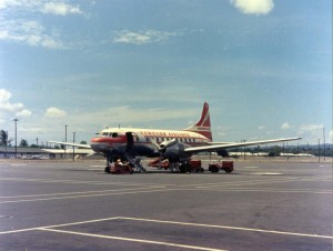 Hawaiian Airlines at Honolulu International Airport, 1959.