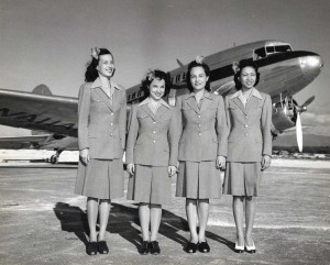 Hawaiian Airlines flight attendants at Honolulu International Airport, 1950s.