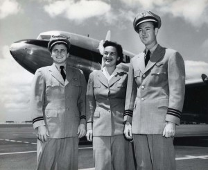 Hawaiian Airlines crew at Honolulu International Airport, 1950s.