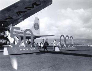 Celebrating Pan American Airways 50,000th flight, Honolulu International Airport, April 29, 1959.