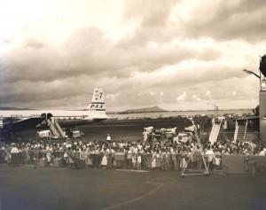 Pan American Airways at Honolulu International Airport, 1957. Diamond Head is in the background.