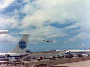 Pan American Airlines at Honolulu International Airport, 1959.