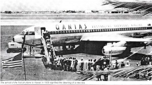 First 707 jet flight into Honolulu International Airport by Qantas, July 31, 1959.