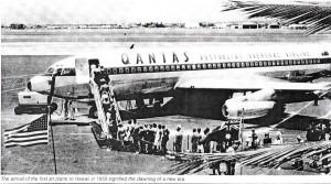 First 707 jet flight into Honolulu International Airport by Qantas, July 31, 1959.