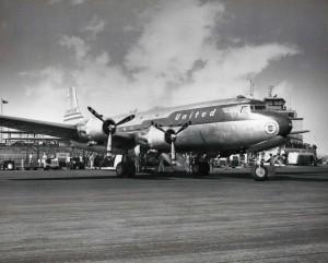 United Airlines Mainliner at Honolulu International Airport 1950s.