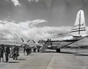United Airlines Mainliner Stratocruiser at Honolulu International Airport. Wing span is 141 feet, length 110 feet and tail is 38 feet above the ground. 1950s.