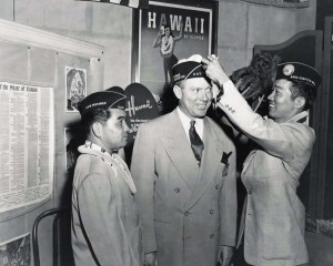 World War II veterans prepare for trip to Washington, D.C. in search of statehood for Hawaii, 1950s.