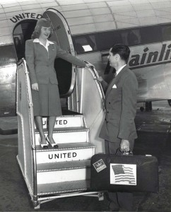 George McLean, executive secretary of the Hawaii Statehood Commission, is welcomed aboard a United Airlines plane at Honolulu International Airport to go to Washington, D.C., 1950s.