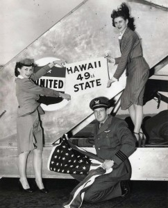 United Airlines flight attendants at Honolulu International Airport ready flight for Hawaii Statehood Commission flight to Washington, D.C., 1950s